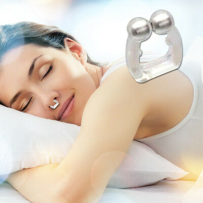 2X Silicone Magnetic Anti Snore Stop Snoring Nose Clip Sleep Tray Sleeping Aid