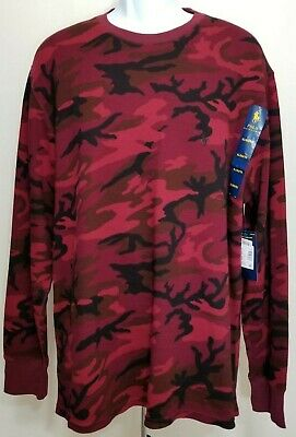 1be7fa85e NWT POLO RALPH LAUREN Mens Red Camo Waffle Knit Thermal Long Sleeve Shirt XL
