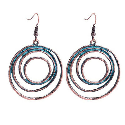 Women Multi-layer Round Pendant Earrings Simple Exaggerated Circle Earrings HO3