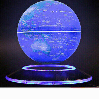Floating Globe Magnetic Levitation World Map LED Light  Rotating Earth 6""