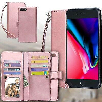 For iPhone X XR XS Max 7 8 Plus Wallet Leather Double Layer Slot Flip Case Cover