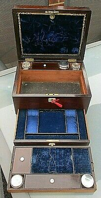 Early Victorian Stunning Rosewood Fitted Vanity Box With Working Lock With Key