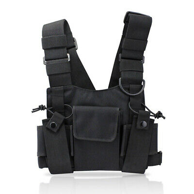 Walkie-talkie Chest Rig Bag Tactical Vest Harness Front Pack Pouch Holster Nylon