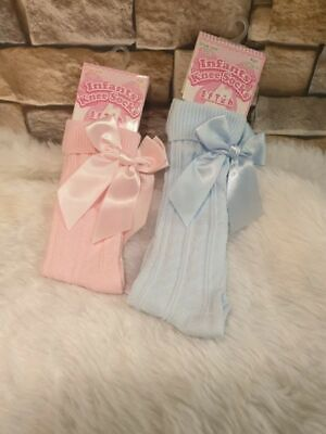 Dream Girls Knee High Pink Or Blue Bow Socks