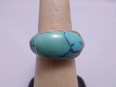 Vintage Designer Signed Sterling Silver Turquoise Stone Funky Patterned Ring