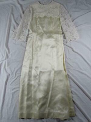 Vtg 40s 50s Womens Fancy Lace White Dress Talon Zipper Long Night Wedding RARE