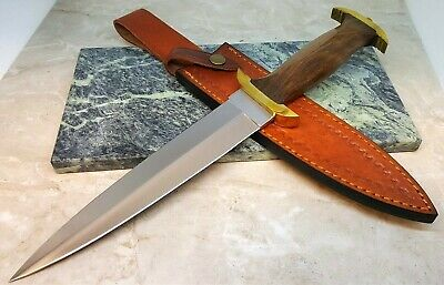 "15"" Medieval Dagger Style Wood Handle 9 in Fixed Blade Knife with Leather Sheath"