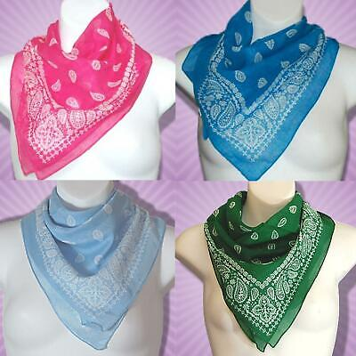 Paisley Bandana Scarf 100% Cotton Large 26 inch Square Made in India Pick Colour