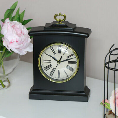 Black carriage mantel clock arched curved vintage desk display Fathers day gift