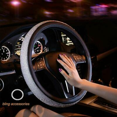 New Diamond Leather Steering Wheel Cover with  Bling Crystal,15 Inch Anti-Slip