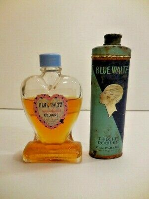 Vintage Joubert Blue Waltz Talcum Talc Powder Tin  & Cologne Perfume Bottle Set