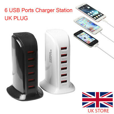 UK Multi USB Ports Desktop Charger Tower Charging Dock Station Power Adapter