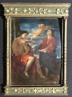 Fine Antique French Old Master Oil - David Playing His Lyre - Tabernacle Frame