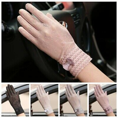 Summer Women Sun UV Protection Outdoor Breathable Lace Driving Gloves