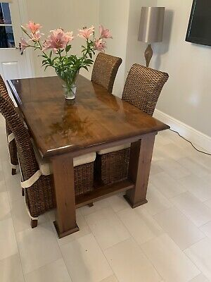 used solid oak extending dining table With Six Chairs
