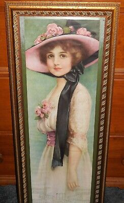 1917 Yard Long Knowles Hare w Roll POPULAR GIRL Calendar Frame Masterpiece Glass