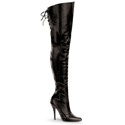 Black Faux Leather Fetish Dominatrix Thigh High Mens Drag Queen Boots size 13 14