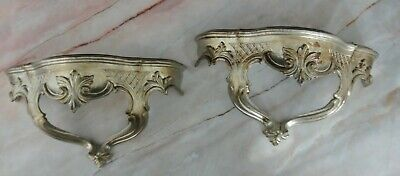 Vintage Pair of Ornate Resin Silver Color Wall Shelves Sconces