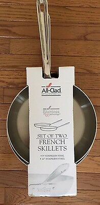 "All Clad D5 Stainless Steel French Skillet Set Pair 11"" And 9"", New, Best Offer!"
