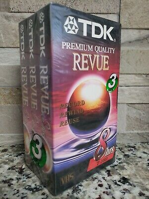 New Factory Sealed 3-Pack TDK T-160 Premium VHS Blank VCR Video Cassette Tapes