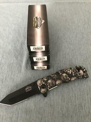 MASTER USA MU-A011GY GREY SKULL SPRING ASSISTED KNIFE - 3 Pieces