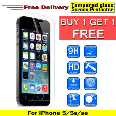 100% Genuine Tempered glass For Screen Protector For Apple Iphone SE 5 5S