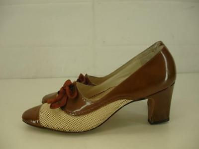 Womens 6 AA N Vtg 1940's LaBelle Originals Granny Shoes Pump Lace-Up Cuban Heels