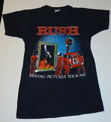 "Vintage 1981 RUSH ""MOVING PICTURES""  TOUR T-Shirt  Front and Back Artwork"