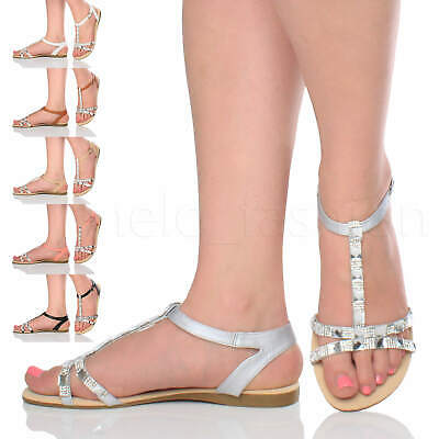 Womens Ladies Flat Diamante Gem T-Bar Summer Holiday Evening Sandals Size 3 - 9