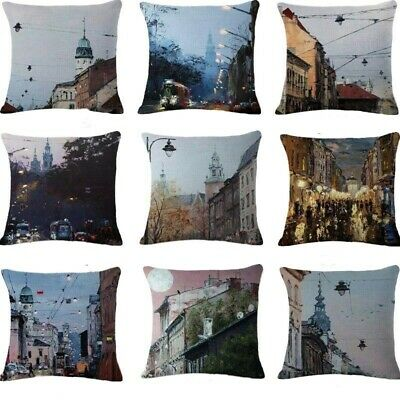 "Decor Pillow Cotton 18"" Cover Cushion Linen Home City Throw Case Ancient Fashion"