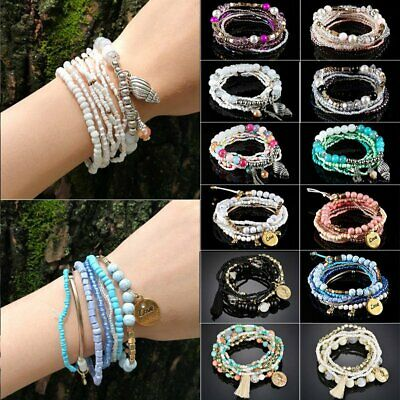 9Pcs/set Women Ethnic Boho Multilayer Tassel Beads Bracelet Charm Bangle Jewelry