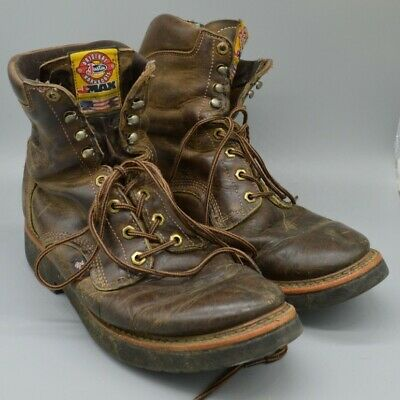 5c23ec20883 JUSTIN TAN GAUCHO JMAX Lace Up STEEL TOE Work Boots 0441 MADE IN USA ...