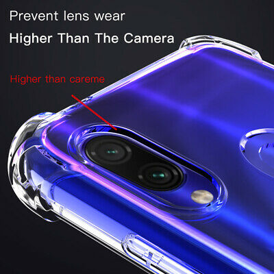 For Xiaomi Redmi Note 7 6 Pro Shockproof Clear Slim Soft TPU Case Cover Film