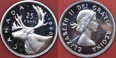 Proof Like 1960 Canada Silver 25 Cents From Mint's Set