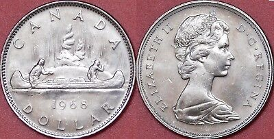 Brilliant Uncirculated 1968 Canada Small Island 1 Dollar From Mint's Roll