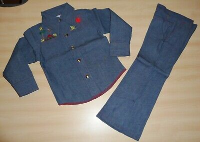 VINTAGE UNWORN 1970's GIRLS CHAMBRAY DENIM JACKET & TROUSER SUIT 4 to 11 YEARS