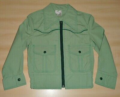VINTAGE 1970's UNWORN BOYS GREEN ZIP UP POINTY COLLAR JACKET AGE 7-8 to 13-14