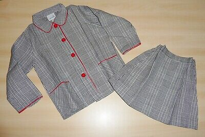 VINTAGE UNWORN 1970s GIRLS BLACK & WHITE CHECK JACKET & SKIRT SUIT 4-5 to 7-8