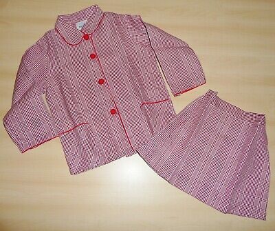 VINTAGE UNWORN 1970s GIRLS BURGUNDY & WHITE CHECK JACKET & SKIRT SUIT AGE 4 to 8
