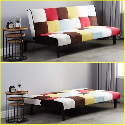 Patchwork Design Sofa Bed 3 Seater Vintage Recliner Couch Guest Fabric Settee UK
