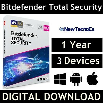 Bitdefender Total Security 2020 - 3 PC-Devices | 1 Year + VPN Free - Code ESD