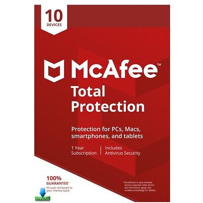 McAfee Total Protection 2019, 10 Multi-Devices, 1 Year (LATEST DOWNLOAD VERSION)