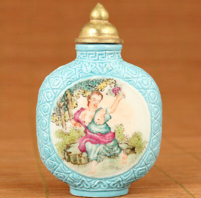 Rare Chinese Old Porcelain Hand Carved Europe Girl Statue Snuff Bottle box