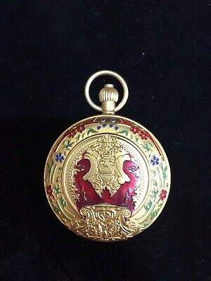 Chinese Old copper handwork flowers Decorative Pocket watch