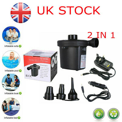 Electric Air Pump Inflator for Inflatables Camping Bed pool Car home 240V 12V UK