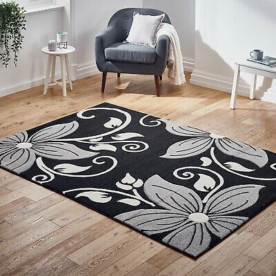 Modern Thick - Large Carved Black Grey Floral Flower High Area Low Cost Rugs