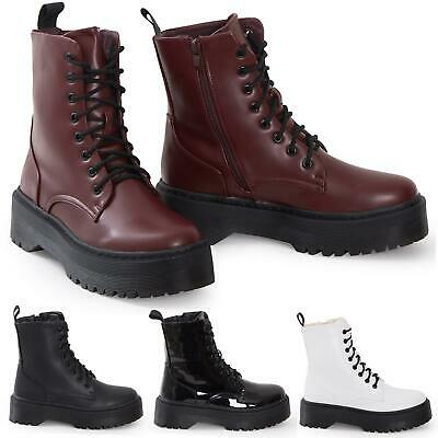 Ladies Hi Top Military Punk Ankle PU Leather Patent Lace Up Vintage Boots
