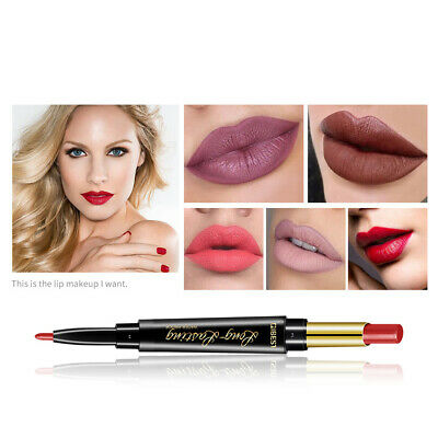 2 In 1 Double Ended Rotary Long Lasting Matte Lip Liner Lipstick Makeup Cosmetic