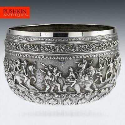 ANTIQUE 19thC BURMESE MAUNG PO KIN SOLID SILVER BOWL, RANGOON c.1890