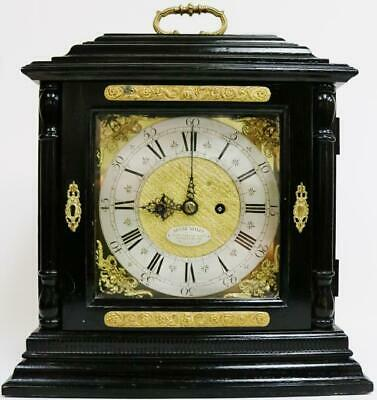 Antique 19thC English Ebonised Caddy Top Twin Fusee Bell Striking Bracket Clock